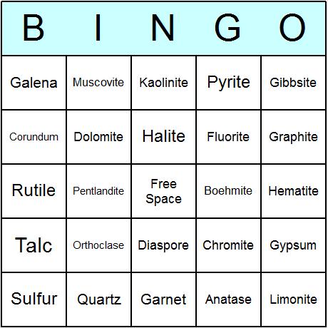 Minerals Bingo Card