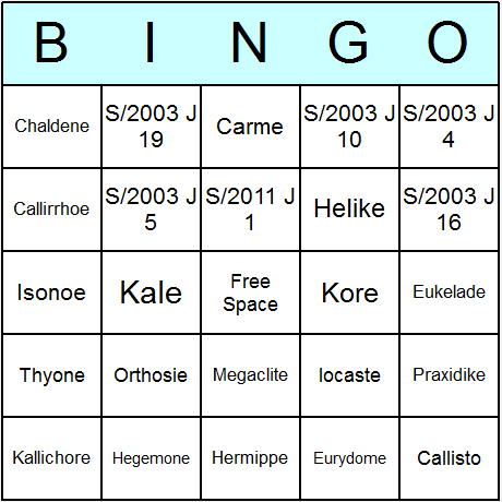 Moons of Jupiter Bingo Card