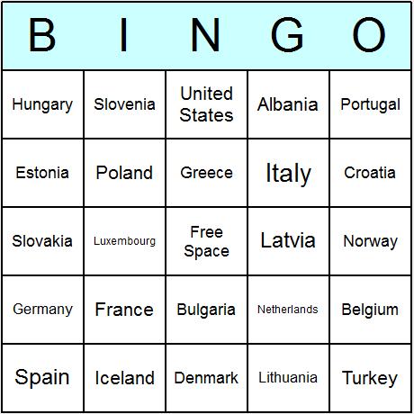 NATO Member States Bingo Card