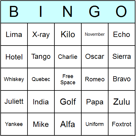NATO Phonetic Alphabet Bingo Card