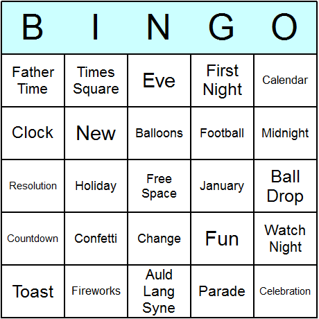 New Year Bingo Card