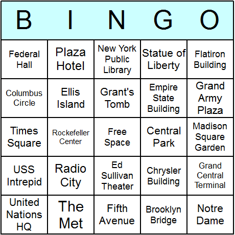 New York Landmarks Bingo Card