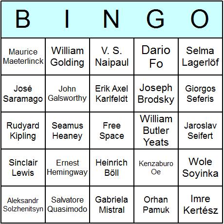 Nobel Laureates in Literature Bingo Card