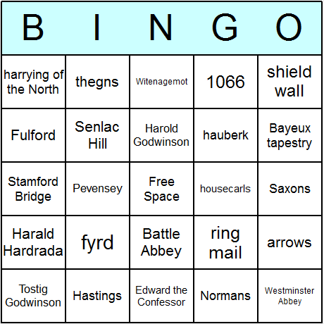 Norman Conquest of England Bingo Card