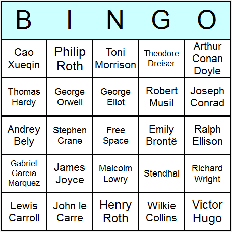 Novelists Bingo Card