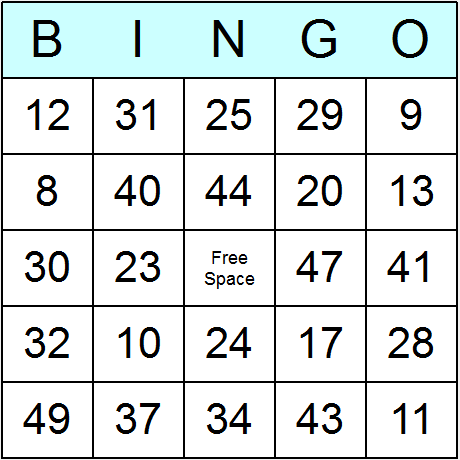 Numbers 1 to 49 Bingo Card