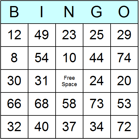Selective image in printable bingo numbers 1 75