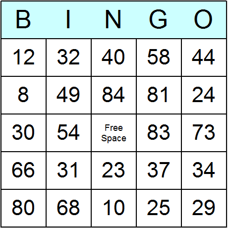 Numbers 1 to 90 Bingo Card