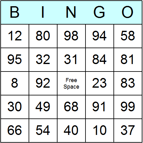 Numbers 1 to 99 bingo cards printable bingo activity game and try the software free click here for download instructions thecheapjerseys Image collections