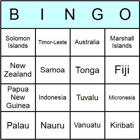 Oceanian Countries Bingo Cards 6.01