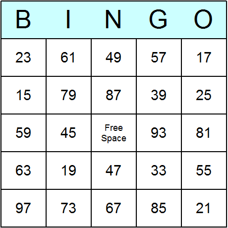 Odd Numbers upto 100 Bingo Card