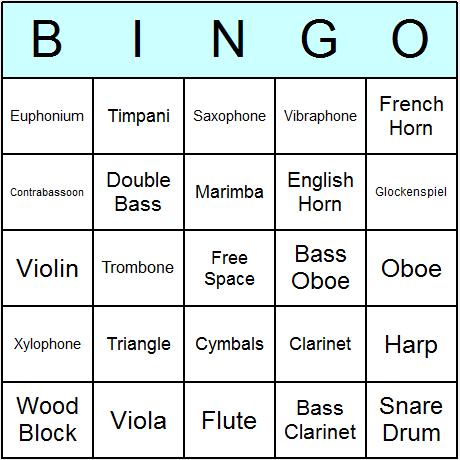 Orchestral Instruments Bingo Card