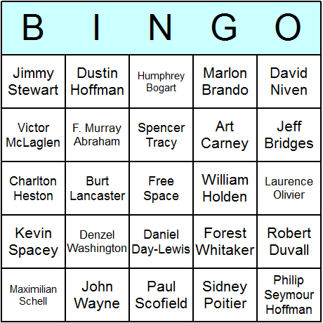 Oscar Winning Actors Bingo Card