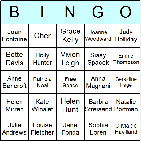 Oscar Winning Actresses Bingo Card