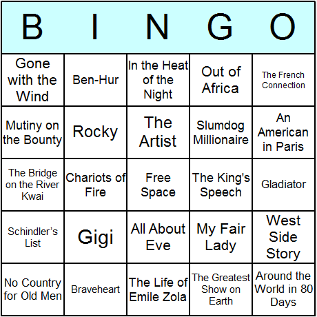 Oscar Winning Movies Bingo Card