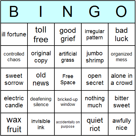 Oxymorons Bingo Card