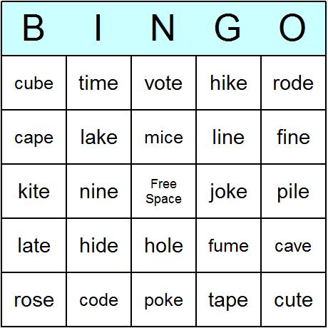 Phonics Bossy E Words Bingo Card