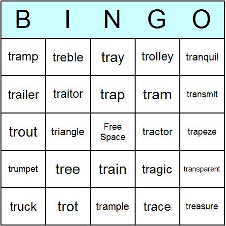 Phonics consonant blends quot tr quot beginning bingo cards printable bingo