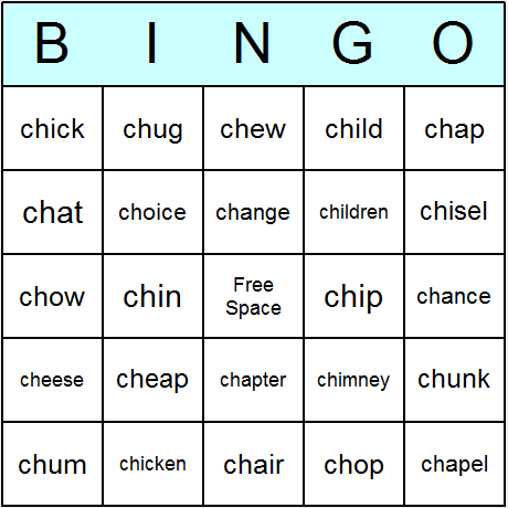 Worksheets List Of Words With Tch phonics consonant digraphs ch beginning bingo cards printable digraphs