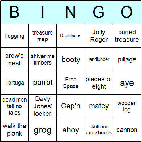 Pirates Bingo Card