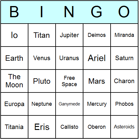 Planets & the Solar System Bingo Card