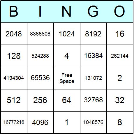 Powers of 2 upto 2^24 Bingo Card