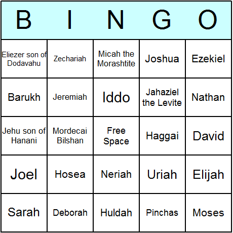 Prophets Judaism Bingo Card