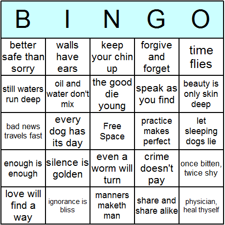Proverbs Bingo Cards - Printable bingo activity, game, and templates