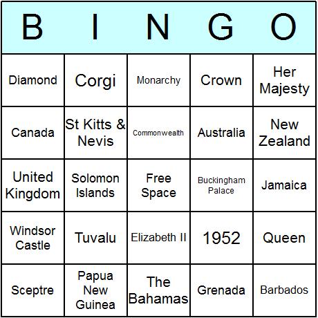 Queen Elizabeth II Bingo Card