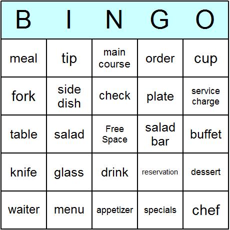 Restaurant Bingo Card