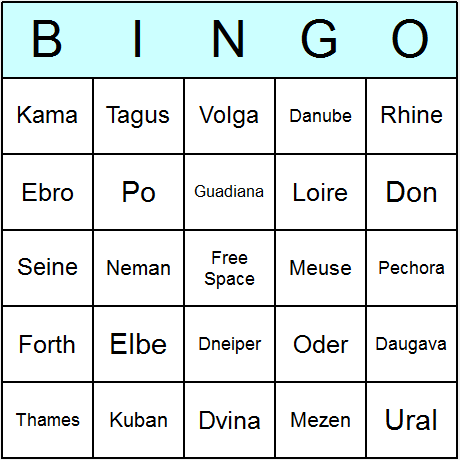 Rivers European Bingo Card