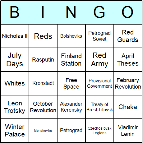 Russian Revolution Bingo Card