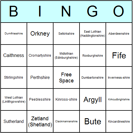 Scottish Historic Counties Bingo Card