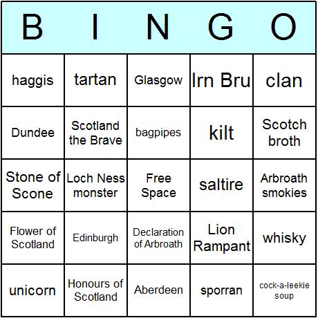 Scottish Symbols & Culture Bingo Card