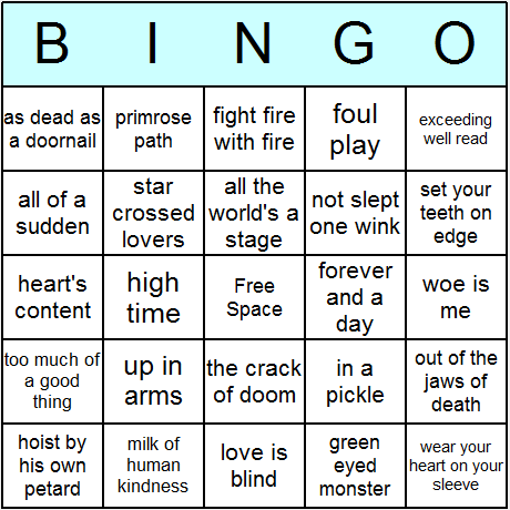 Shakespearean Phrases Bingo Card