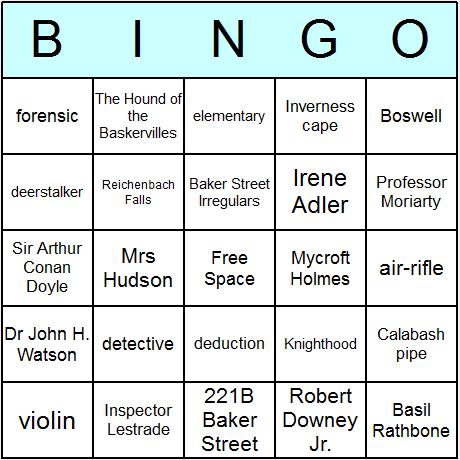 Sherlock Holmes Bingo Card