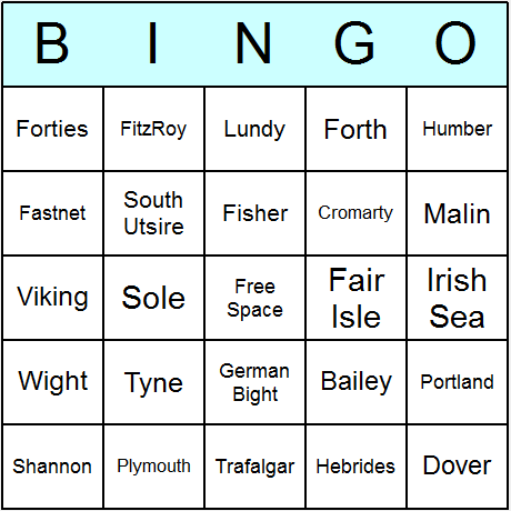 Shipping Areas Bingo Card