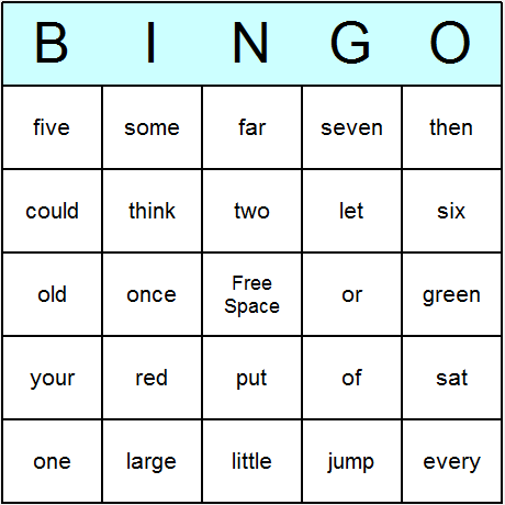 Sight Words Medium Bingo Cards 6.01