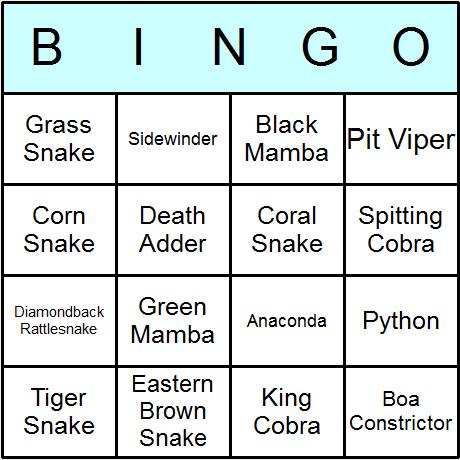Snakes Bingo Card