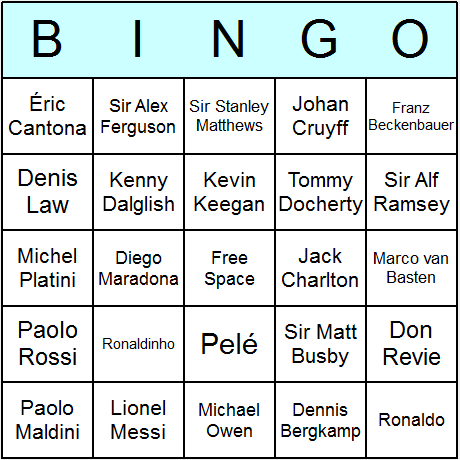 Soccer Greats Bingo Card
