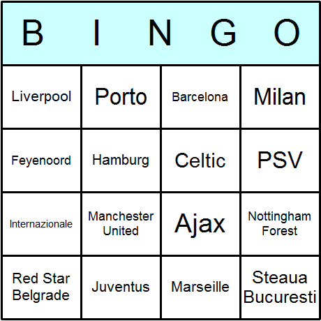 Soccer UEFA Champions League Winners Bingo Card
