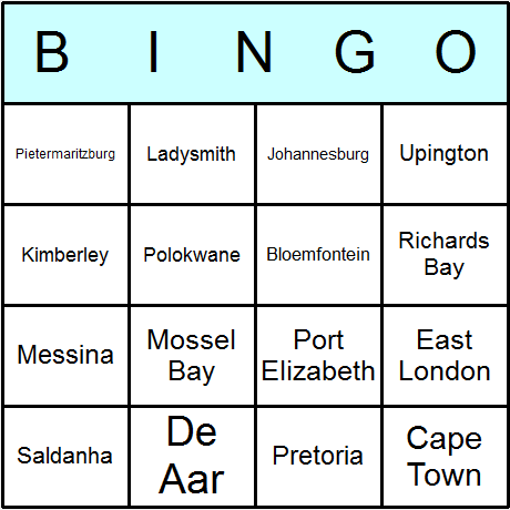 South African Towns & Cities Bingo Card