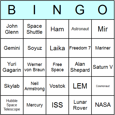 Space Exploration Bingo Card