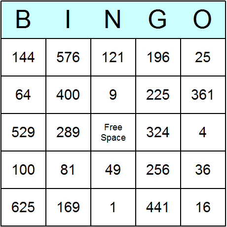 Squares of 1 to 25 Bingo Card
