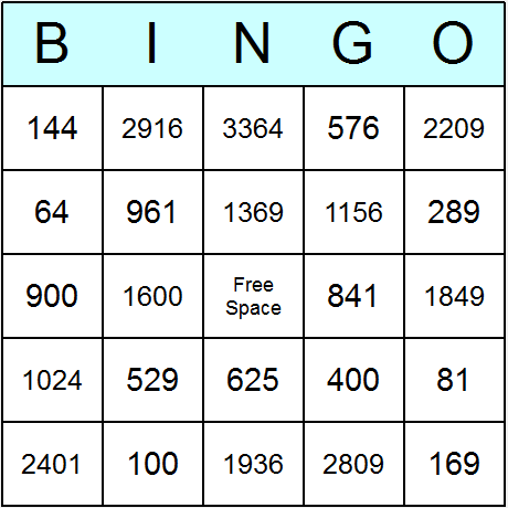 Squares of 1 to 60 Bingo Card