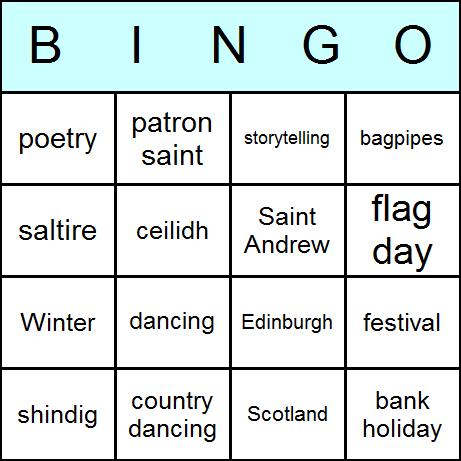 St. Andrew's Day Bingo Card