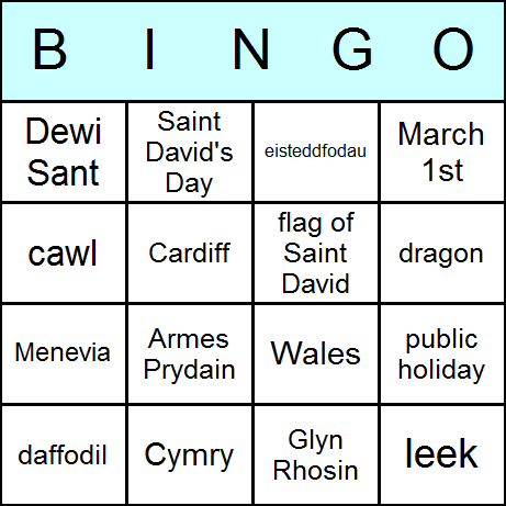 St. David's Day Bingo Card