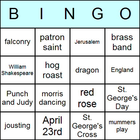 St. George's Day Bingo Card