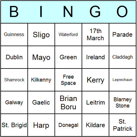 St. Patrick's Day Bingo Card