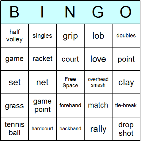 Tennis Bingo Card